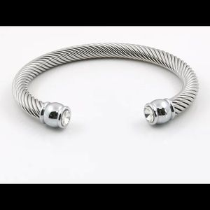 Silver with Clear Stone Bangle